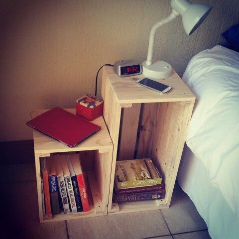 Crates made from pallet wood 60 x 30 x 30 cm and 45 x 30 x 30 cm  Used as bedside table