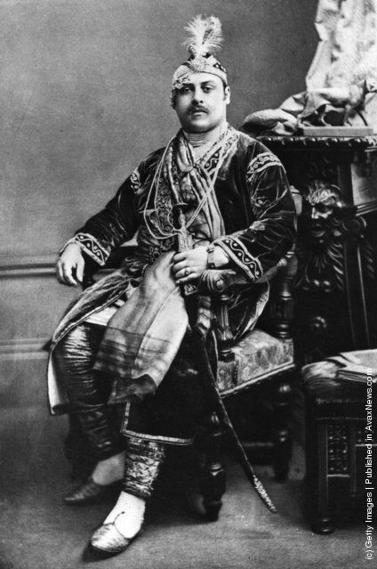 Prince Victor Duleep Singh, Prince of India at a fancy dress ball at Devonshire House as the Emperor Akbar, the Mogul emperor. July 1897