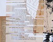 collage di carta su tela con trovato poesia.  Per te.