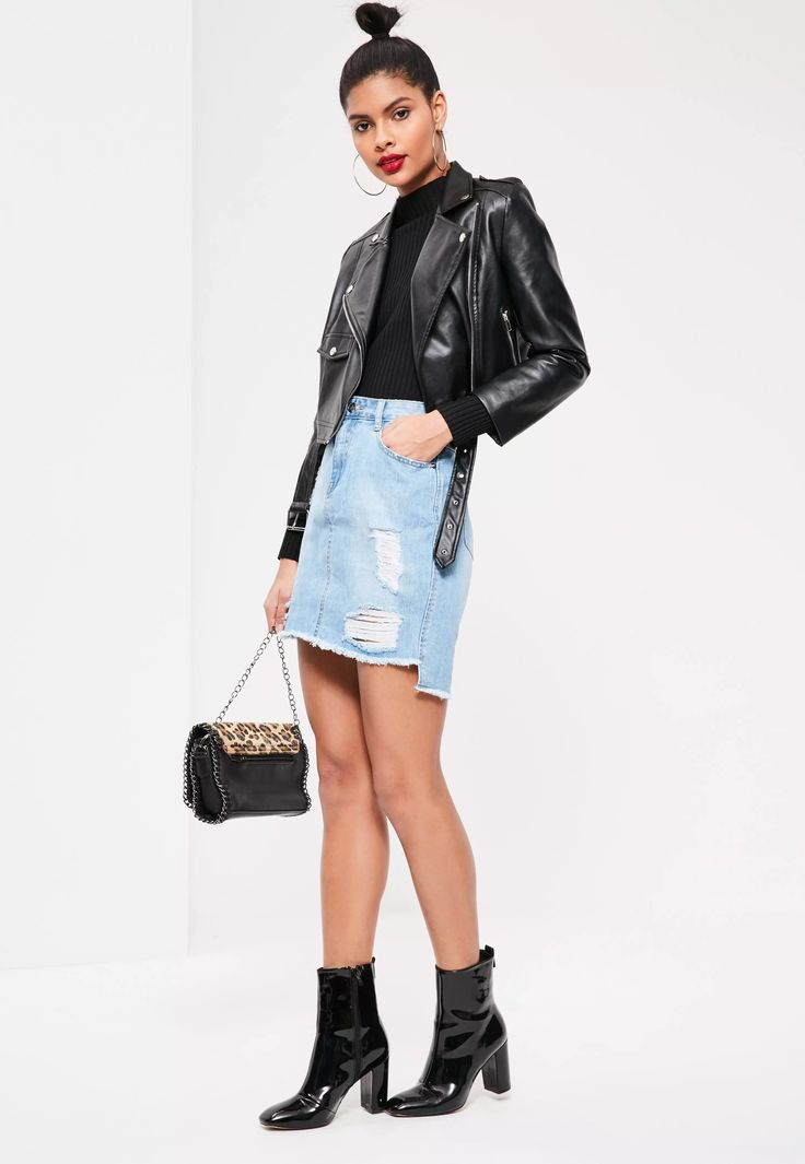 Step out in the hottest denim this season and get everyone talkin'. Featuring a bleach blue hue, ripped features for a grunge flair and a stepped hemline, this is one for your MG wardrobe! Team with buckle heels and a v-neck t-shirt.