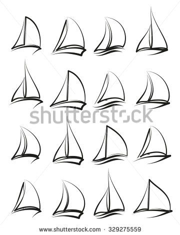 Set of yachts vector logo templates. Yachts silhouettes set. Vector line yachts …