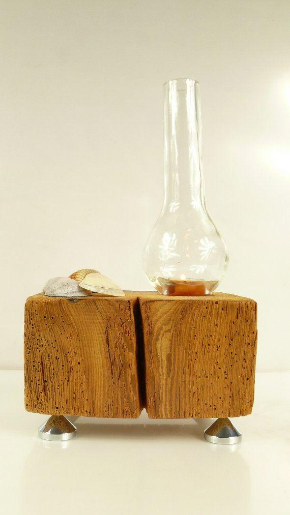 Unique barn wood candle holder with vintage oil lamp glass for Wooden kerosene lamp holder