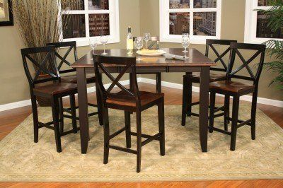 American Heritage Billiards Rosetta 5 pc Counter Height Dining Set with Camden Chairs by American Heritage Billiards. $1189.65. Bring a touch of classic, contemporary design to your room with the Rosetta Counter Height 5 piece dining Set. Fine craftsmanship with sleek modern lines, the Rosetta table has a 54in square solid wood top with an 18in butterfly leaf combined with the beautiful two toned finish and tapered legs makes this set an eye catcher. The trend...