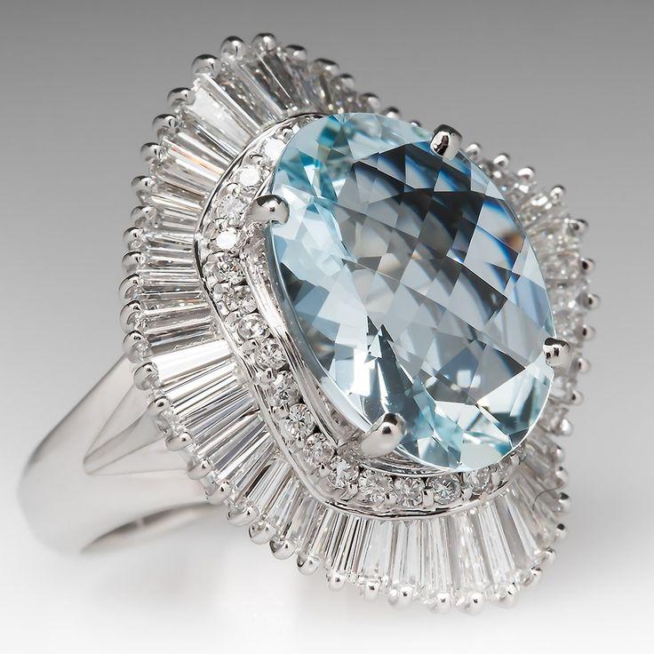 Large Aquamarine & Diamond Ballerina Cocktail Ring Platinum