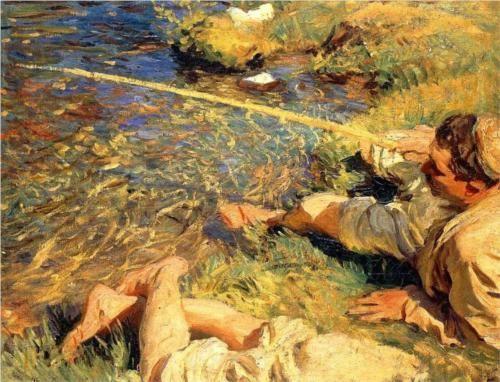 John Singer Sargent, Val d'Aosta, Man Fishing, c.1907