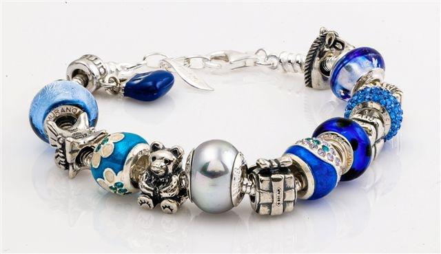 Amore & Baci blue beaded bracelet - Sterling silver bracelet with silver, pearl, Murano glass, enamel and Svarovski beads! #beadedbracelet #beads
