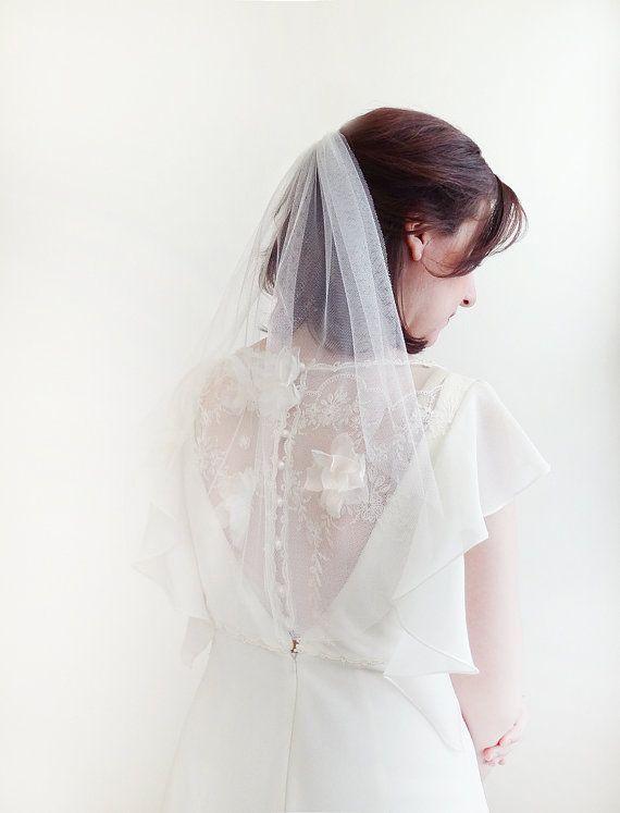 Wedding veil bridal veil short wedding veil by JoyandFelicity