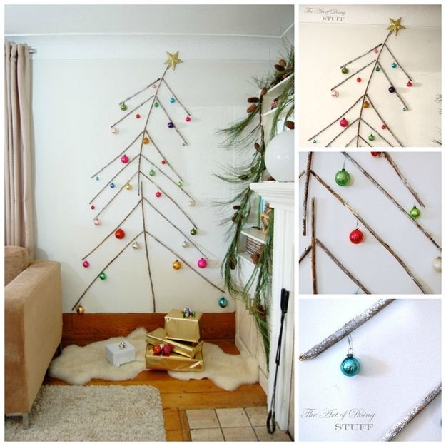 Wall Christmas Tree | 16 Wintry Christmas Decorations Made From Twigs