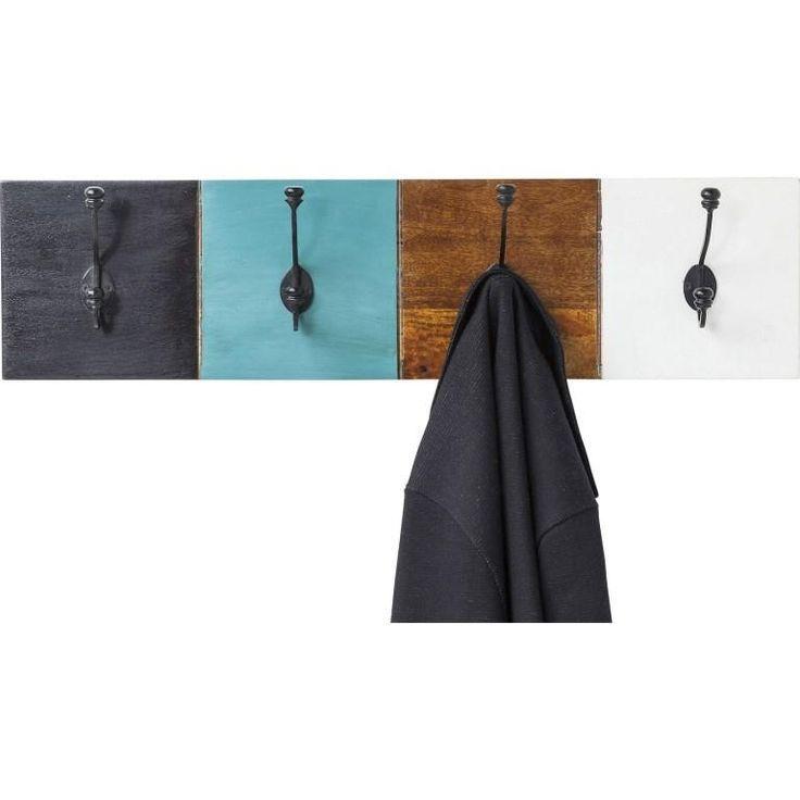 Reizvolle Garderobe im Vintage-Stil. In den Blau und Brauntönen. #garderobe #garderobenleiste #haken #kare #bunt #paneel #moebelpower #moebeltraeume #moebel #möbel #kardesign