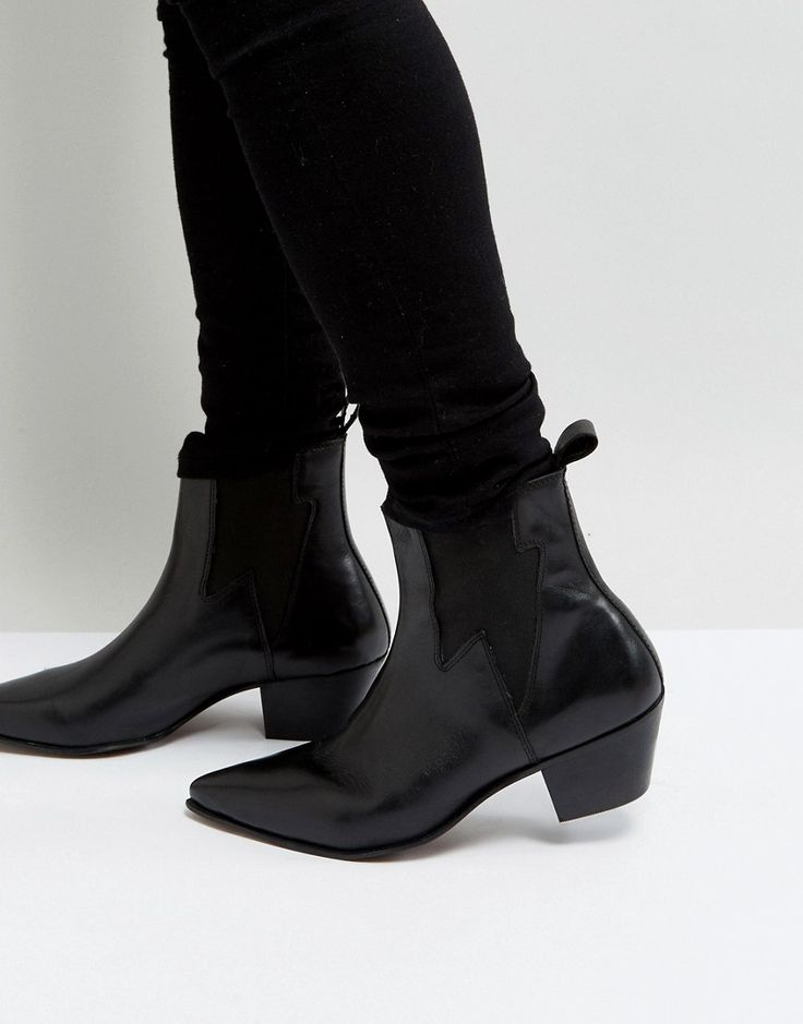 ASOS Stacked Heel Boots In Black Leather With Lightening Detail - Blac
