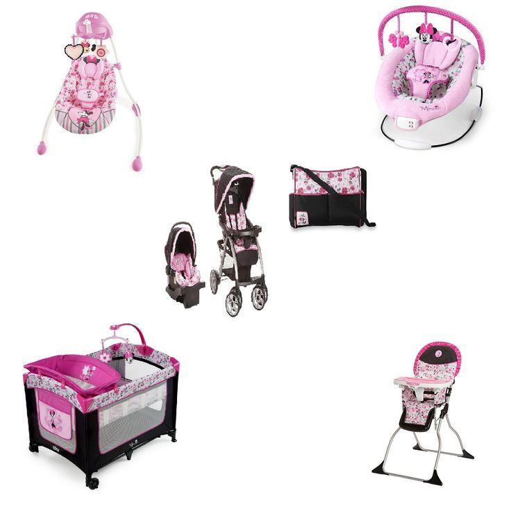 Disney Minnie Baby Bundle Baby Gear Bundle Collection, Travel System, Play Yard