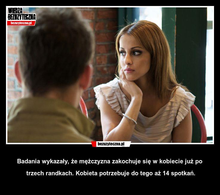 Badania wykazały, że mężczyzna zakochuje się w kobiecie już po trzech randkach. Kobieta potrzebuje do tego aż 14 spotkań.