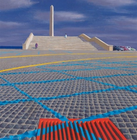 Jeffery Smart - Second study for monument and car park