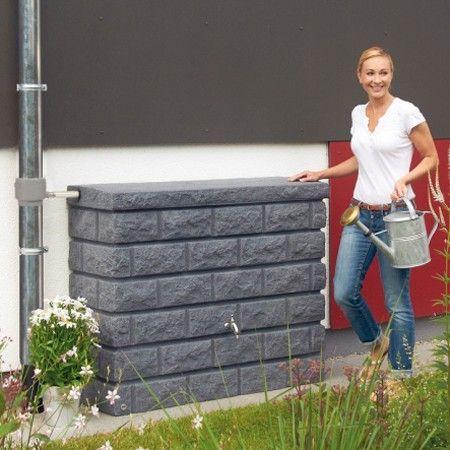 Réservoir d'eau de pluie - imitation pierre - existe en 3 coloris : gris granite, sable, redstone - livré en kit avec collecteur éco et robinet laiton - fabrication française - garantie 5 ans