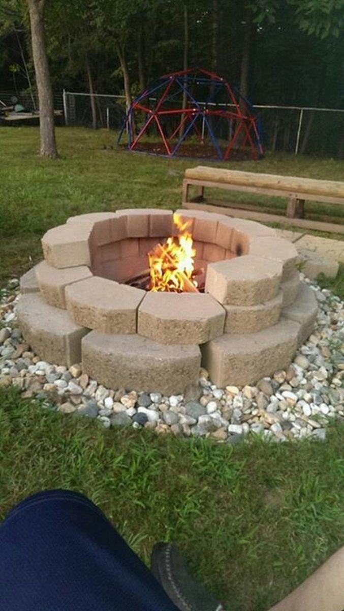 Fire Pit Cement Landscape Blocks   Fire pit landscaping, Outside ...