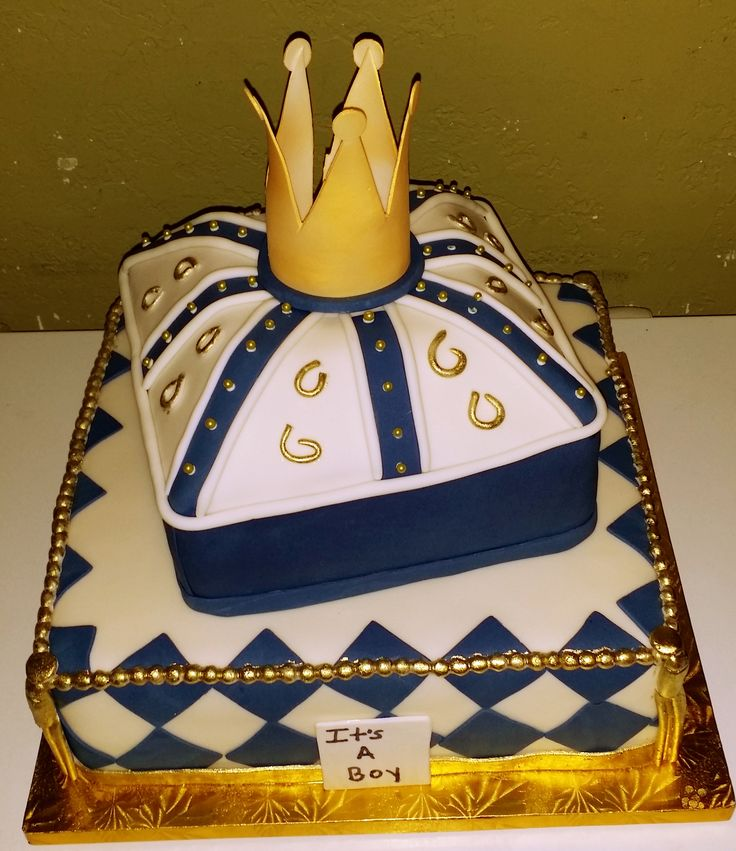 Royalty Baby Shower Cake - crown, gold, blue, jewels, beads