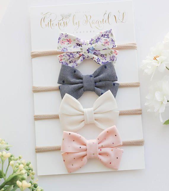 Sparkle Baby bow headband or alligator clip set of five bows girl bow headband, bow headband set felt bows Newborn headband