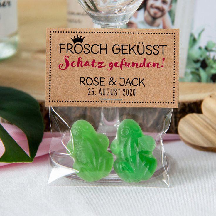 """Gastgeschenk Geschenktüte transparent mit Kraft Etikett """"Frosch geküsst"""" inkl. Personalsierung"""