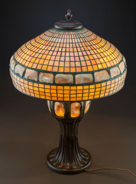 IMPORTANT #TIFFANY STUDIOS LEADED GLASS AND BRONZE GOLDEN TURTLEBACK TILE LAMP. Circa 1910