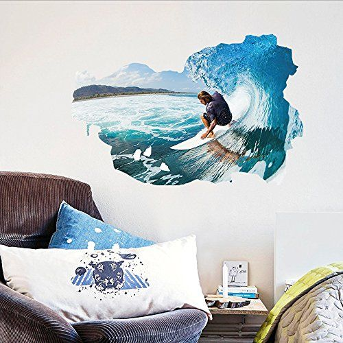 Surfing the Wall Sea Waves Wall Decal Home Sticker PVC Murals Paper House Decoration Wallpaper Living Room Bedroom Art Picture for Kids Teen Senior Adult Baby >>> Visit the image link more details.