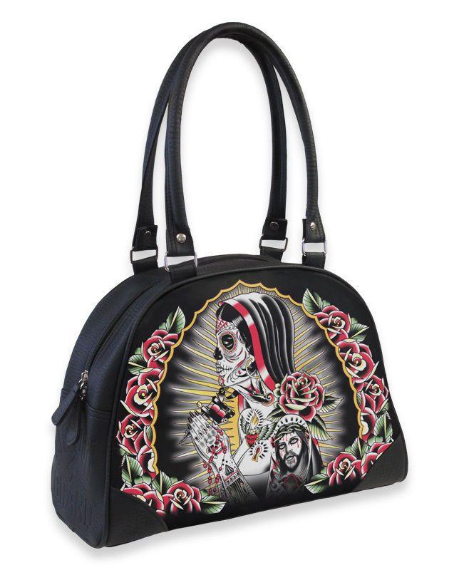 Liquor Brand Damen ROSA Handtasche.Oldschool,Tattoo,Biker,Pin up,Custom Style
