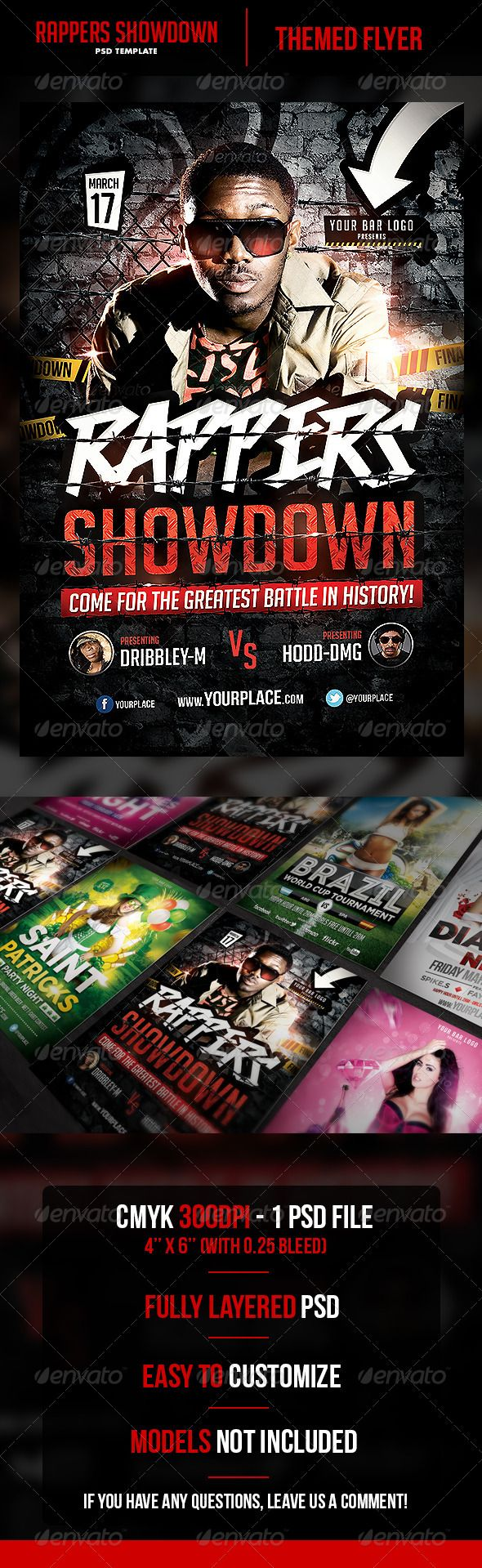 Rappers Showdown Flyer Template  Flyer Template Rapper And Print