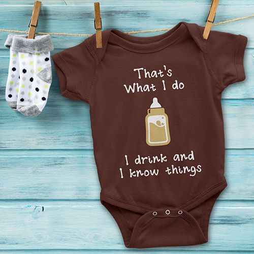 This Game of Throne shirt for the ultimate Tyrion Lannister fan is now available in #BabyOnesie! With Game of Thrones being one of the most popular shows on television, why wouldn't you want to have your baby wear this unique conversation starter? It is a must have for any fan, big or small.  Your baby will start a fanfare of his or her own with this adorable onesie. Use coupon code PINFIVE for 5% off! #giftideasfinder #babyshowerideas #newbabygift #tyrionlannister #idrinkandiknowthings