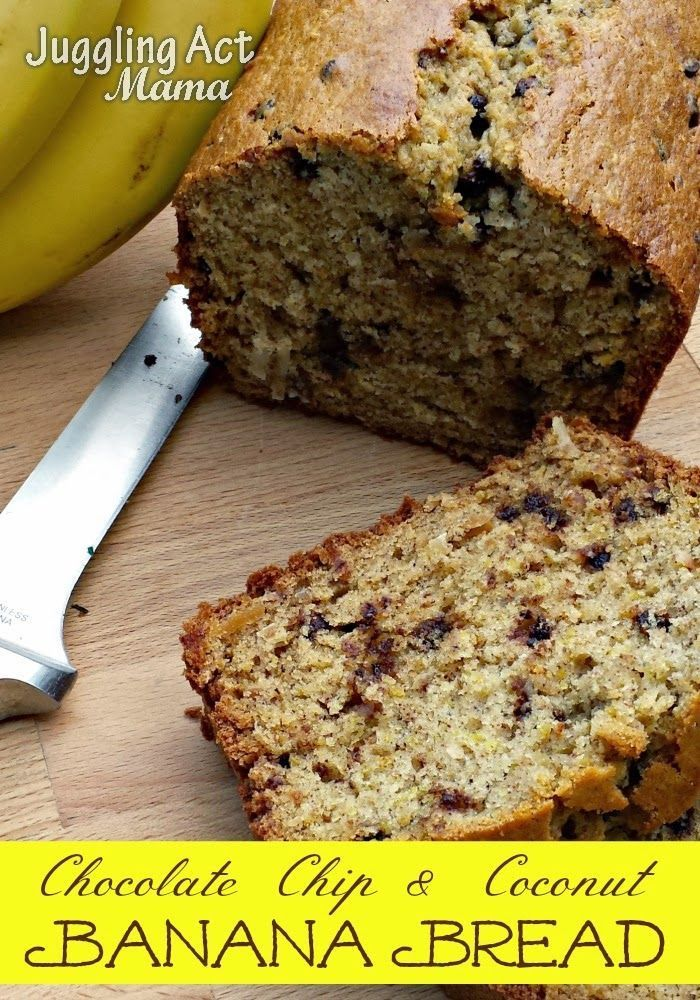 Banana Bread With Chocolate Chips And Coconut Recipe Coconut Banana Bread Bread Banana Bread Recipes