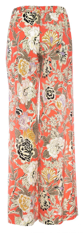 Etro Damen Seidenhose mit Floralprint Koralle gesehen @ www.sailerstyle.com