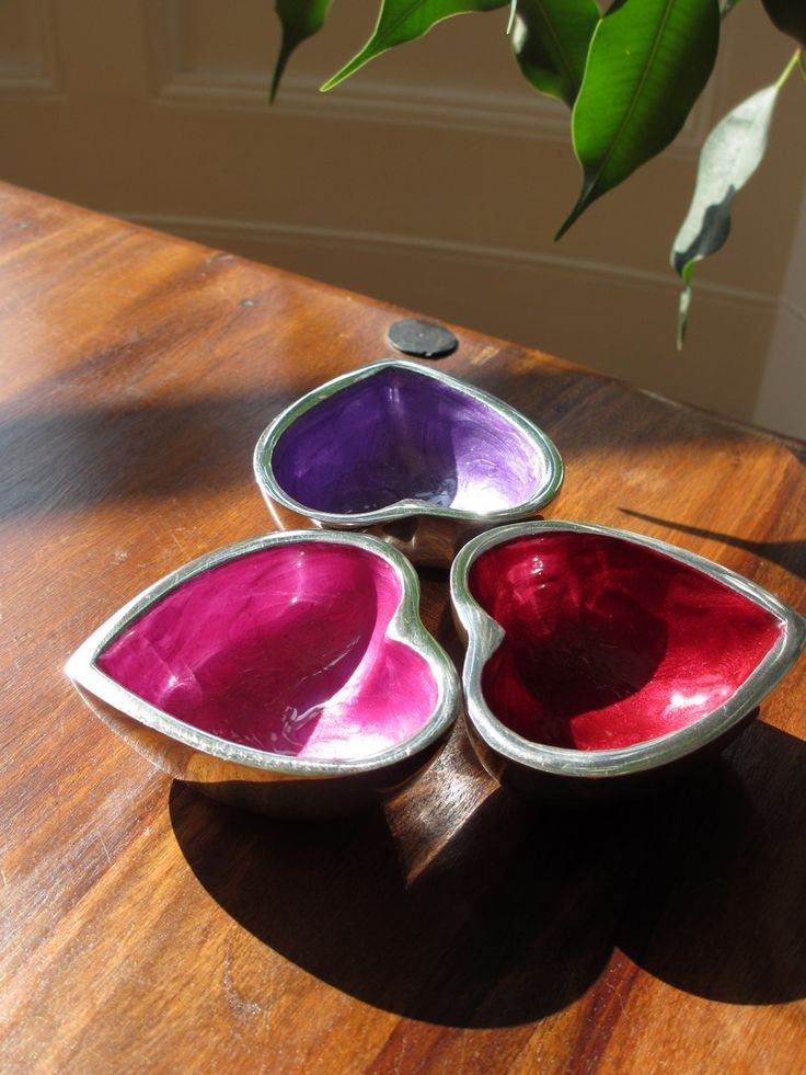 Set of 3 recycled aluminium heart dishes. http://www.maroque.co.uk/showitem.aspx?id=ENT06181&p=06506&n=all