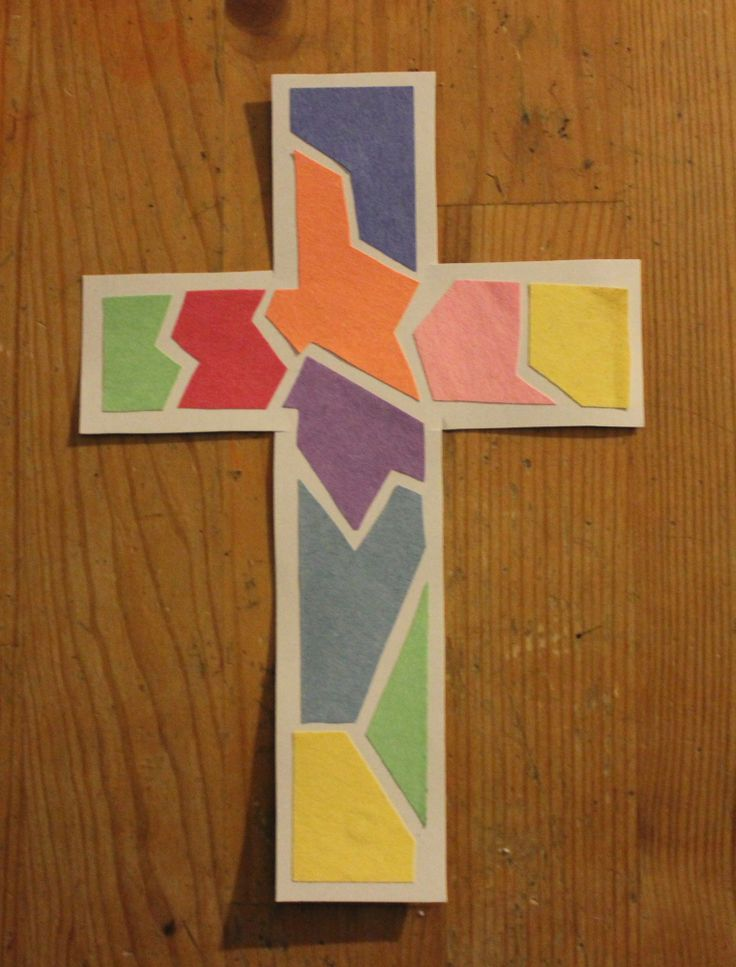 Mosaic Cross Craft  The kiddos will love creating this colorful mosaic craft! Perfect for Easter or whenever you study the story of Jesus' crucifixion and resurrection.