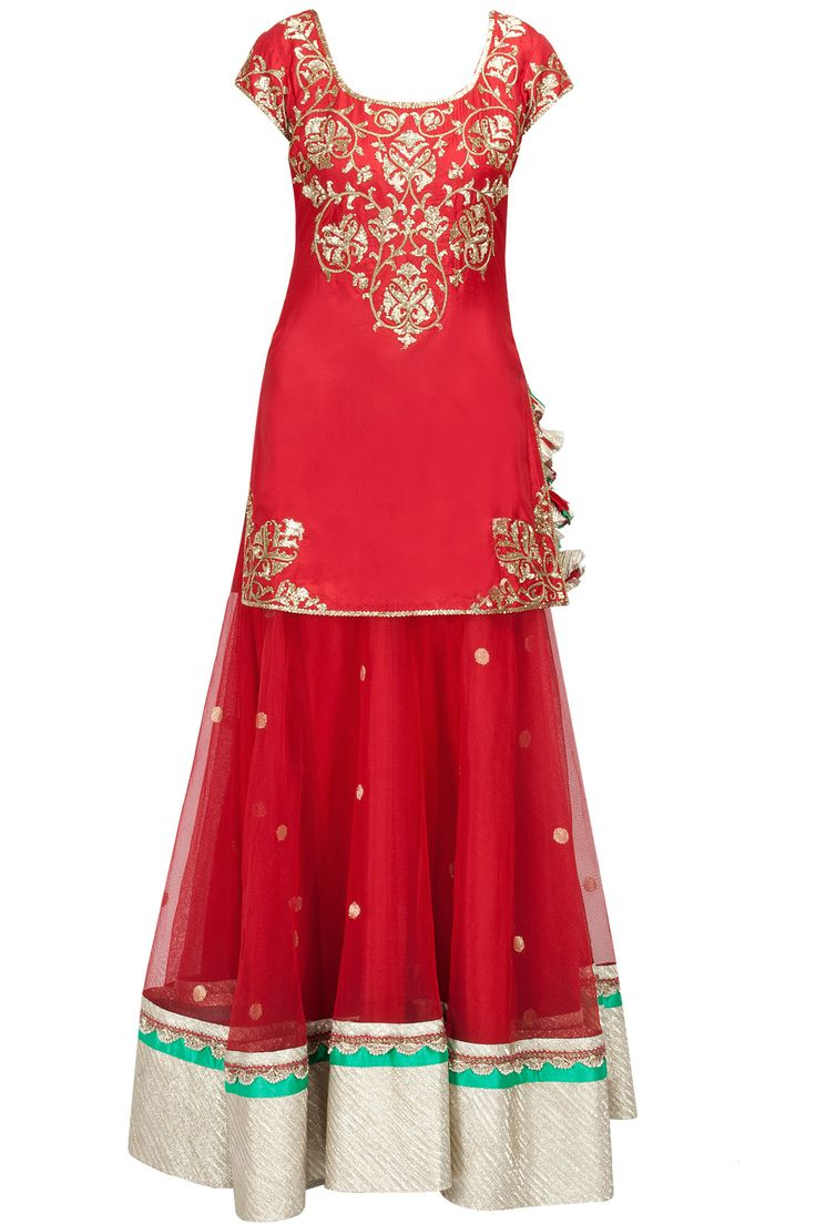 Red embroidered kurti with banarasi net lehenga available only at Pernia's Pop-Up Shop.