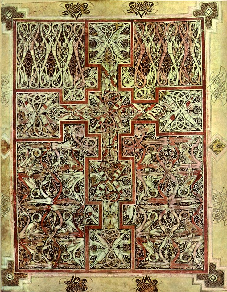 St Luke's Gospel Carpet Page, (only surviving one), Lichfield Gospels, eighth century, provenance has been argued as Iona, Northumbria or even Mercia.