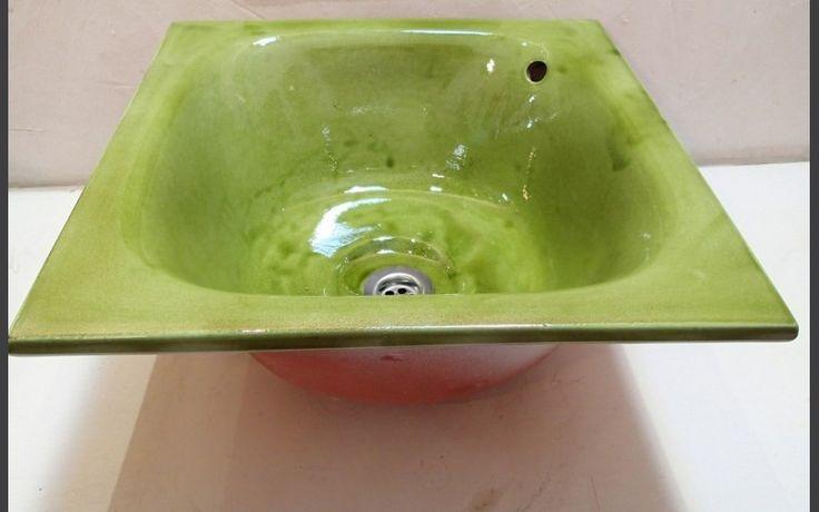 Vasque carrée à encastrer Tian vert prairie 45 x 45 x h 20 cm