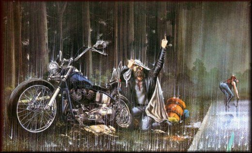 No one hates rain like a biker. David Mann