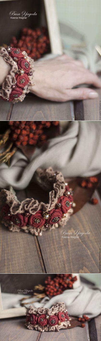 """Купить Браслет ручной работы """"Клюквенный чай"""" - ярко-красный, красный, красный браслет"""