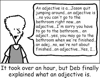 "#Homeschool funny, ""It took over an hour, but Deb finally explained what an adjective is."" LOL! I sure remember those days!"