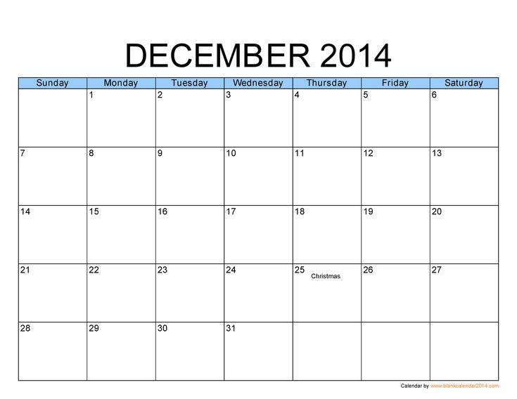 December 2014 Calendar Template Costumepartyrun