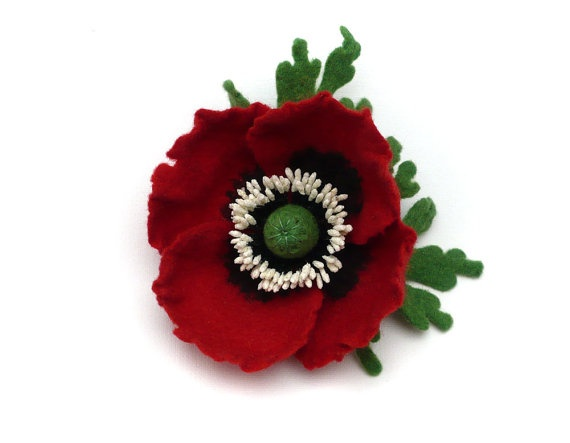 Felted Brooch Dark Red Poppy by Roltinica on Etsy