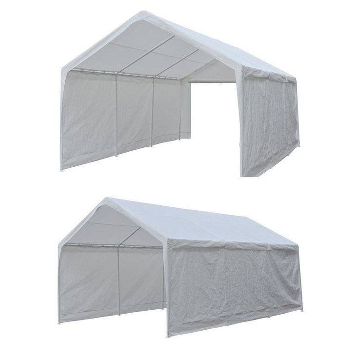 Abba Patio 12 x 20-Feet Heavy Duty Domain Carport, Car Canopy Shelter with Steel Legs and Sidewalls, #APGP1220PEW