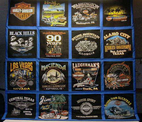 Future project??  A t-shirt quilt for Daryl made out of our many Harley t-shirts!