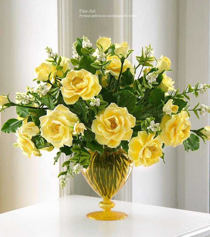 Новинки : Букет из желтых роз и снежной ягоды - Fito Art
