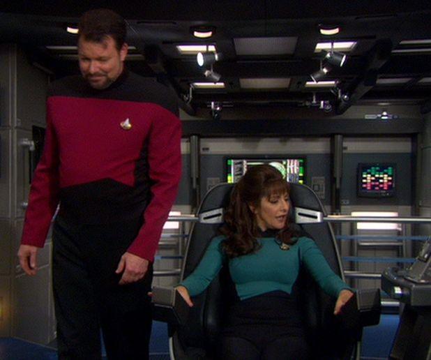 William T. Riker and Deanna Troi on bridge of Enterprise ...