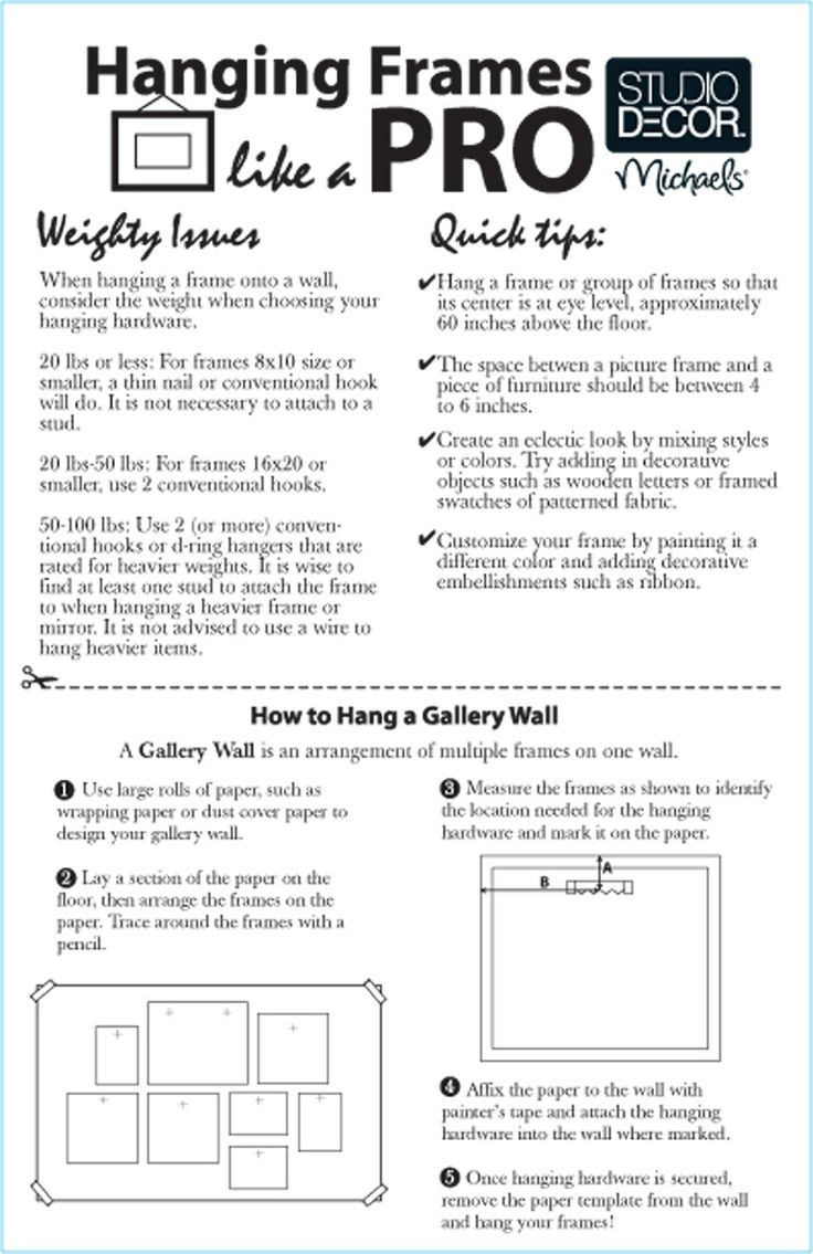 Michael's - tips on how to hang frames, should be 60 inches from the ground at eye level & 4-6 inches above any furniture --and more