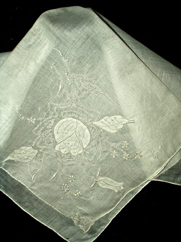Vintage Shadow Embroidery Madeira Handkerchief Rose Motif $15.00 - The Gatherings Antique Vintage