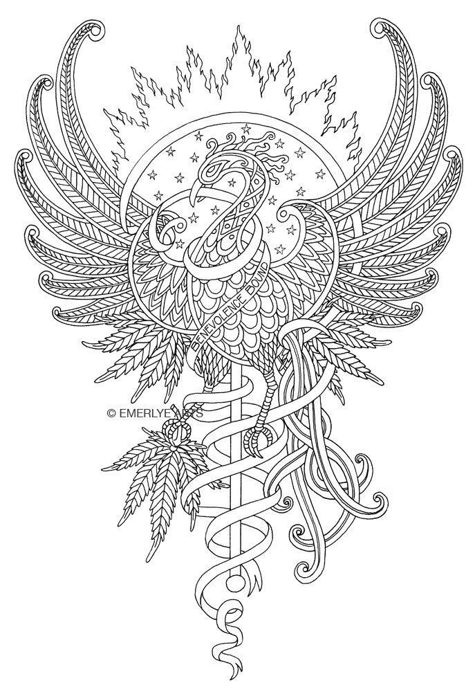 Adult Tattoo Coloring Firebird A Hemp Cannabis Design