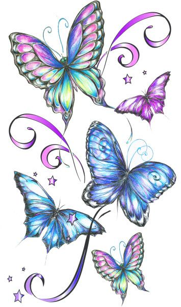 Purple and Blue Cute Butterfly Tattoo Photo - 3: Real Photo Pictures ...
