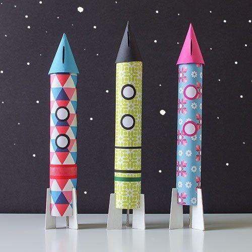 Raketen-Spardose Bastelanleitung von maplepaper
