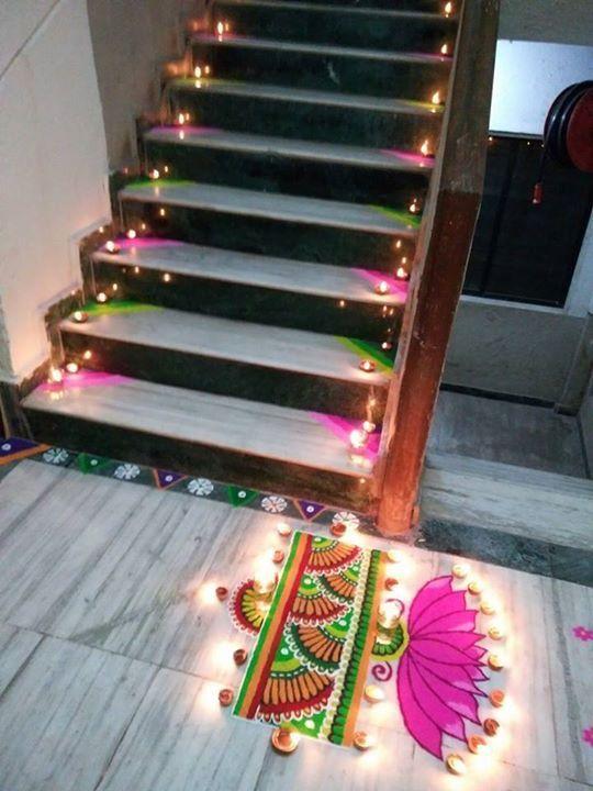Stairs and diya