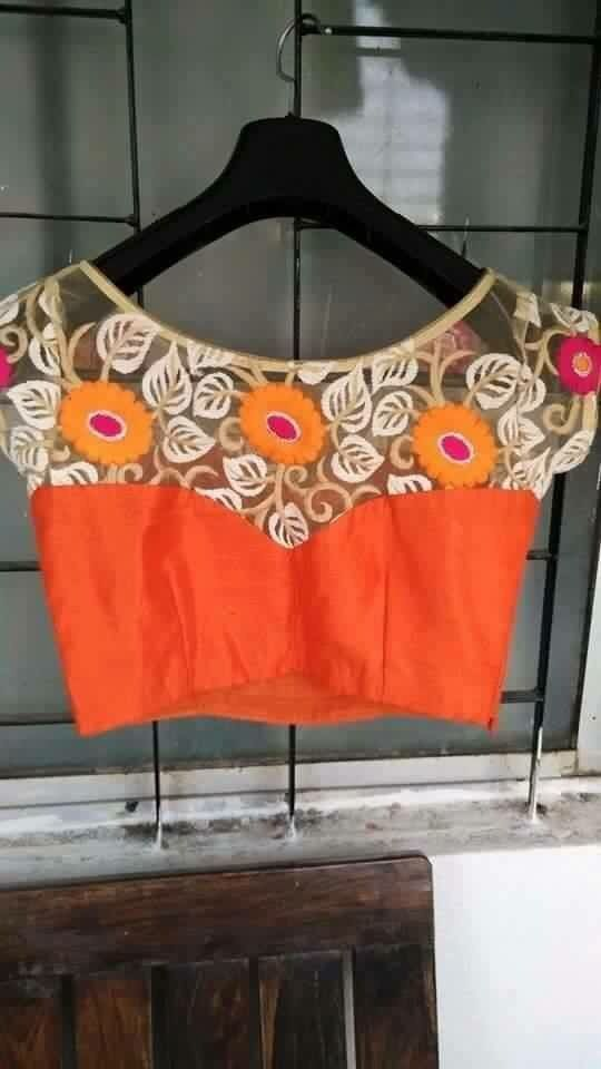 Pretty lace statement saree blouse design....